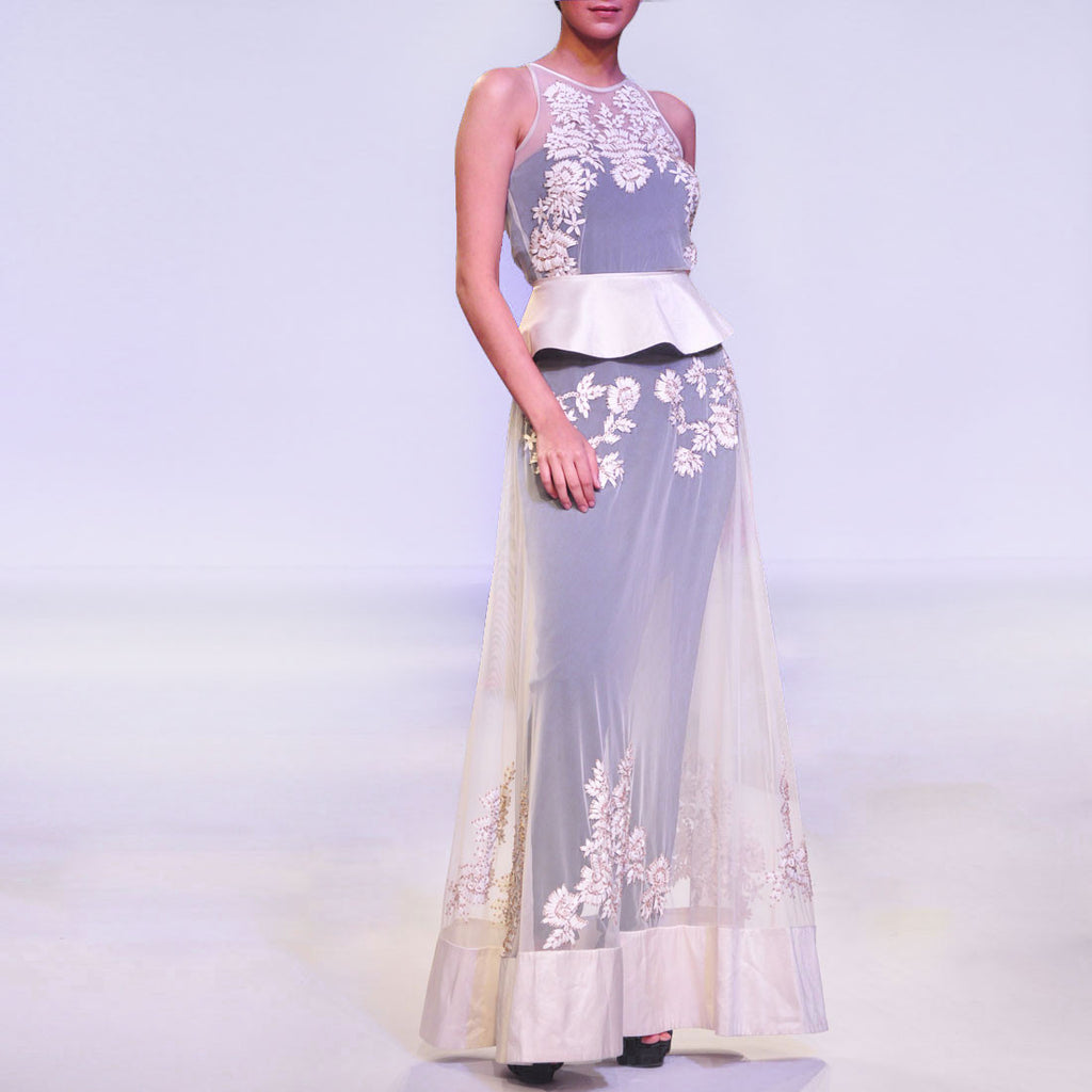 White Net Long Gown With Cutwork Leather & Navy Jumpsuit by SOUP by Sougat Paul
