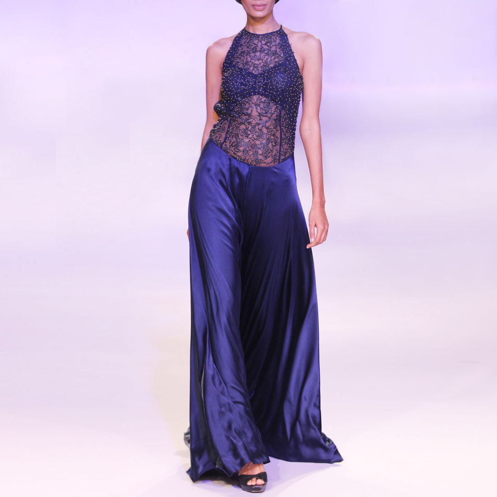 Grey Cutwork Gown With Beadwork by SOUP by Sougat Paul