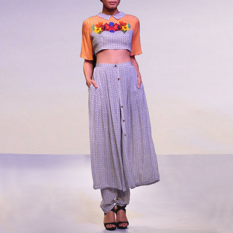 Georgette Printed Crop Top With Trouser by SOUP by Sougat Paul