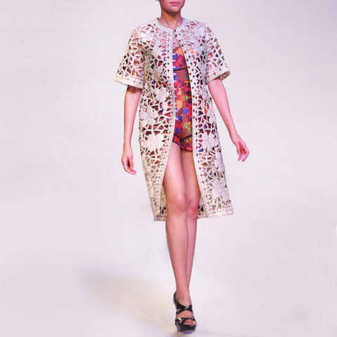Silk Dupion Embroidered Cutwork Jacket With Dupion Playsuit by SOUP by Sougat Paul