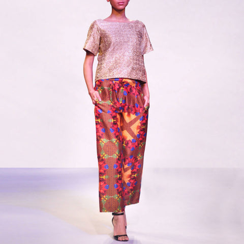 Zari Silk Top With Printed Raw Silk Trousers by SOUP by Sougat Paul