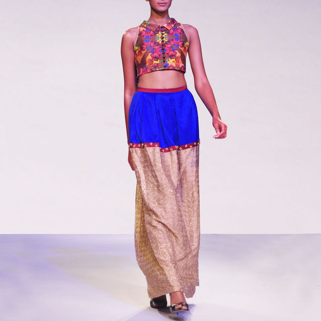 Printed Koti With Color Blocked Pleated Zari Skirt by SOUP by Sougat Paul