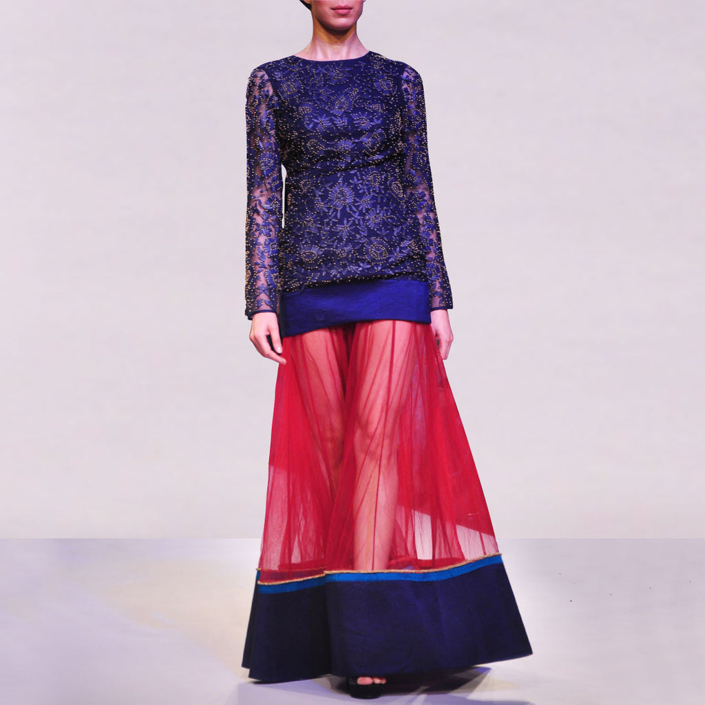 Navy Embellished Organza Dress With Sheer Net Lehenga by SOUP by Sougat Paul