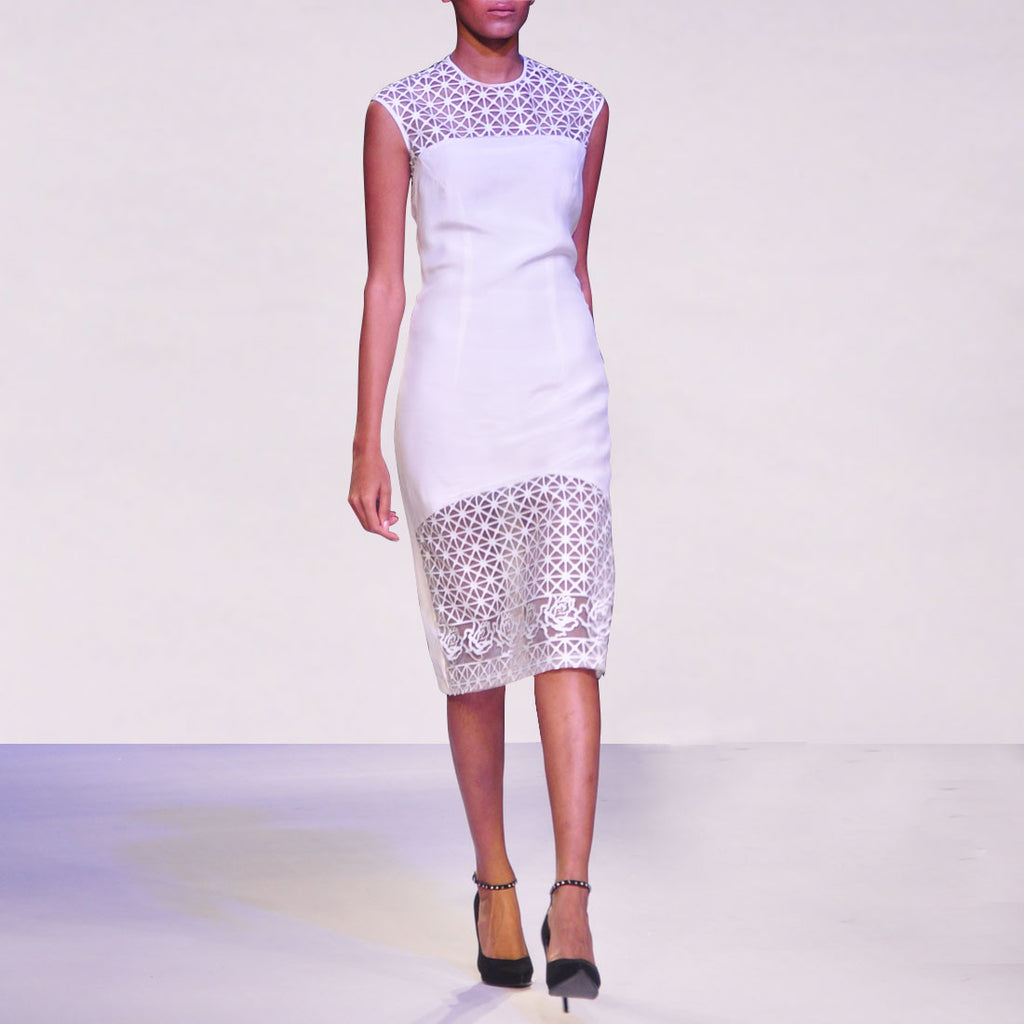 White Short Dress With Faux Leather Hem & Yoke by SOUP by Sougat Paul