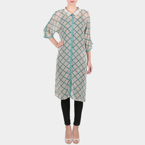 White Chequered Print Georgette Collared Tunic With Front Placket by SOUP by Sougat Paul