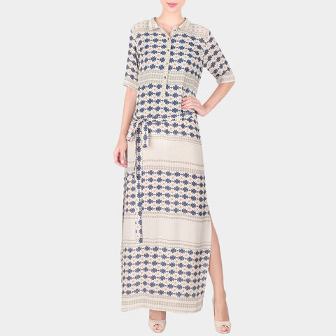 White Geometric Print Double Georgette Collared Tunic With Side Slit & Front Belt by SOUP by Sougat Paul