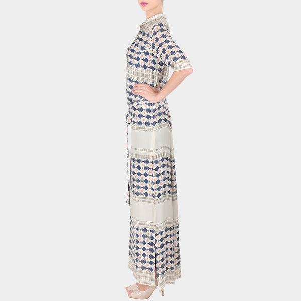 White Geometric Print Double Georgette Collared Tunic With Side Slit & Front Belt