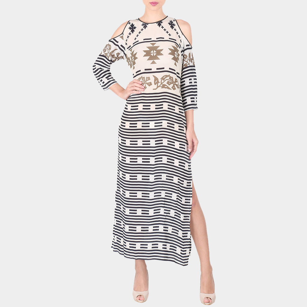 White & Black Geometric Print Crepe Long Ankle Length Side Slit Tunic With Off Shoulder Sleeves by SOUP by Sougat Paul