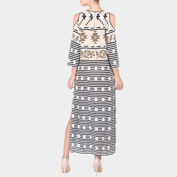 White & Black Geometric Print Crepe Long Ankle Length Side Slit Tunic With Off Shoulder Sleeves