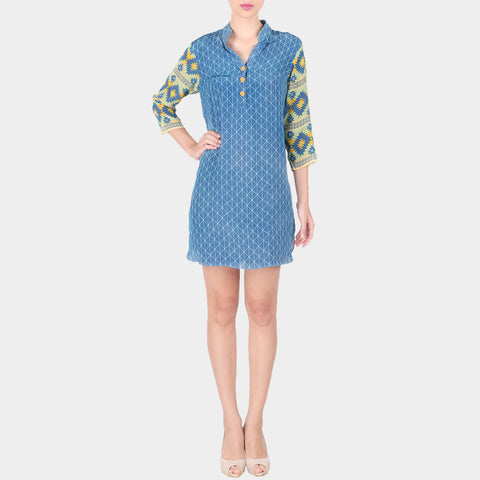 Blue Crepe Chequered Short Tunic With Mandarin Collar & Geometric Printed Sleeves by SOUP by Sougat Paul