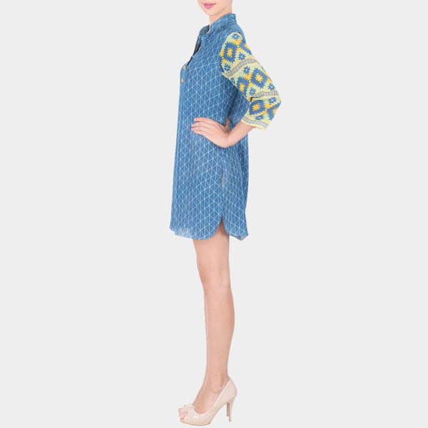 Blue Crepe Chequered Short Tunic With Mandarin Collar & Geometric Printed Sleeves