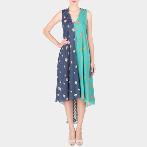 Navy Blue & Sea Green Half & HalfAbstract Print Sleevless Cotton Silk Bias Cut Tunic With Handkerchief Hemline by SOUP by Sougat Paul