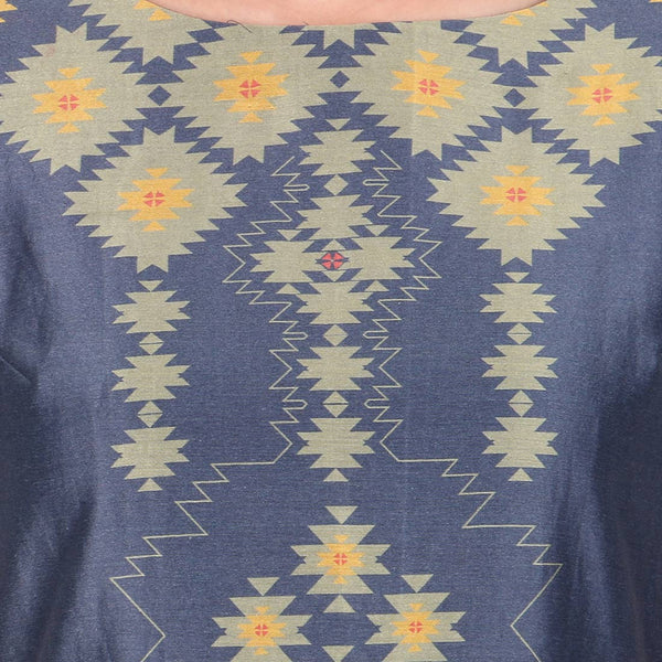 Purple Geometric Print Chanderi Long Ankle Length Tunic