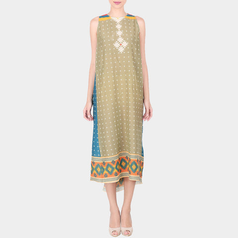 Green & Multicolor Abstract Geometric Print Cotton Silk Sleevless Bias Cut Tunic by SOUP by Sougat Paul