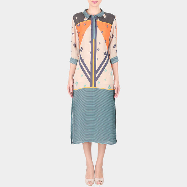 Multicolor Abstract Geometric Print Double Georgette Collared Tunic by SOUP by Sougat Paul