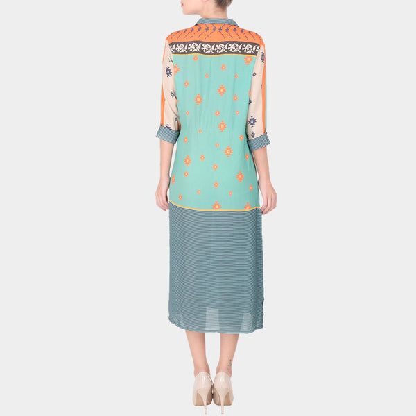 Multicolor Abstract Geometric Print Double Georgette Collared Tunic