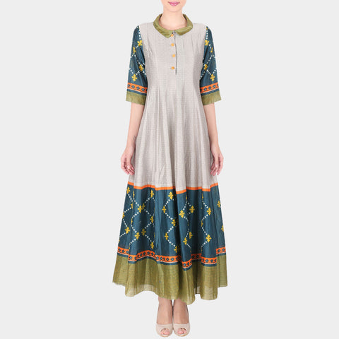 Multicolor Geometric Print Chanderi Kalidar Kurta With Collars by SOUP by Sougat Paul