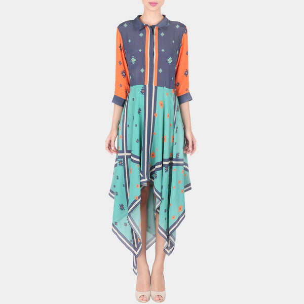 Multicolor Geometric Print Cotton Silk Long Ankle Length Tunic With Collars & Hankerchief Hemline
