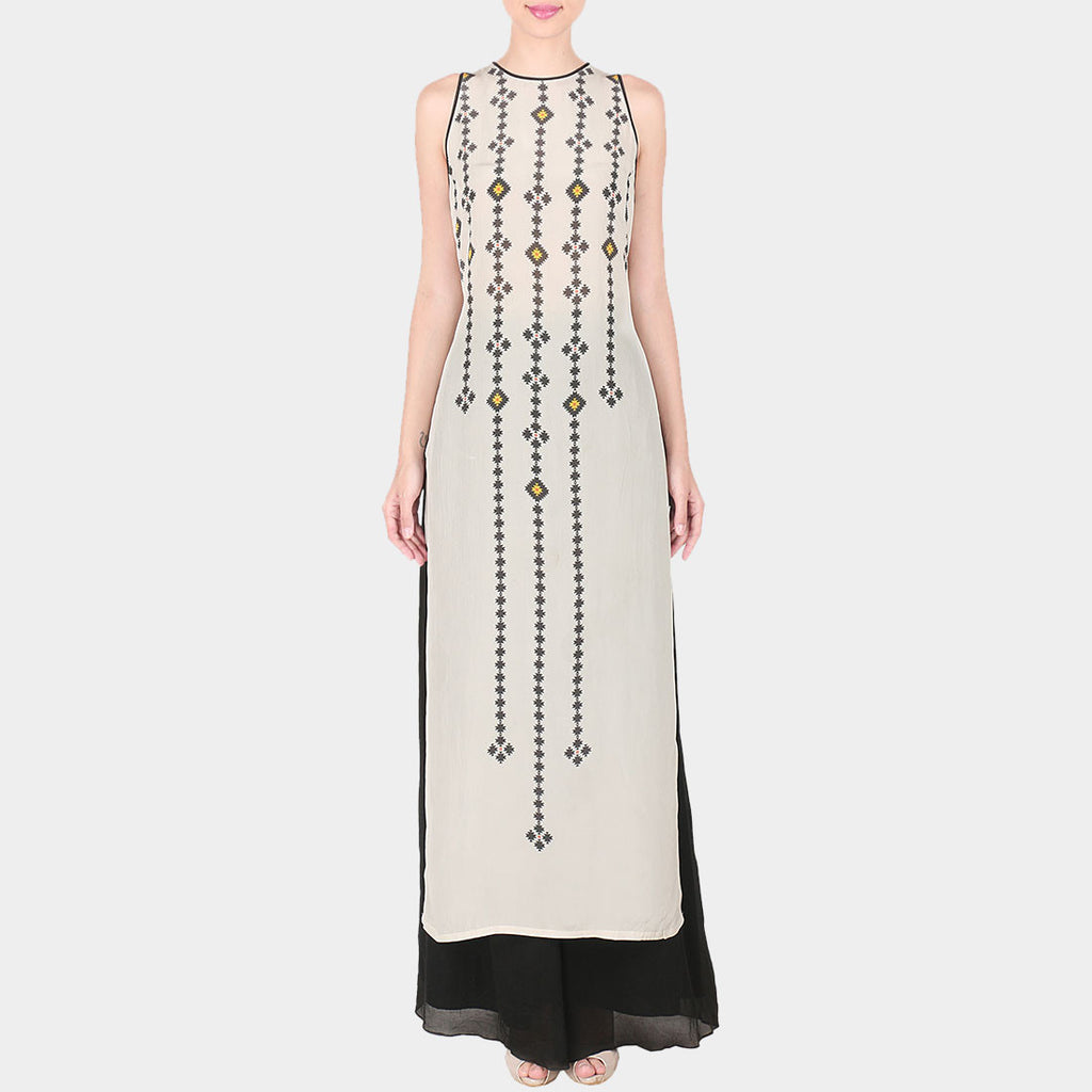 Set Of White Abstract Geometric Print Crepe Sleevless Long Kurta With Black Palazzo by SOUP by Sougat Paul