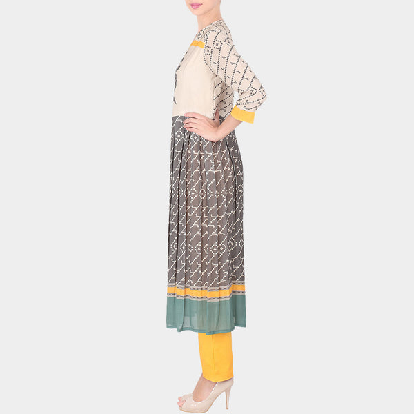 Set Of Multicolor Floral Abstract Print Double Georgette Long Tunic With Yellow Trousers