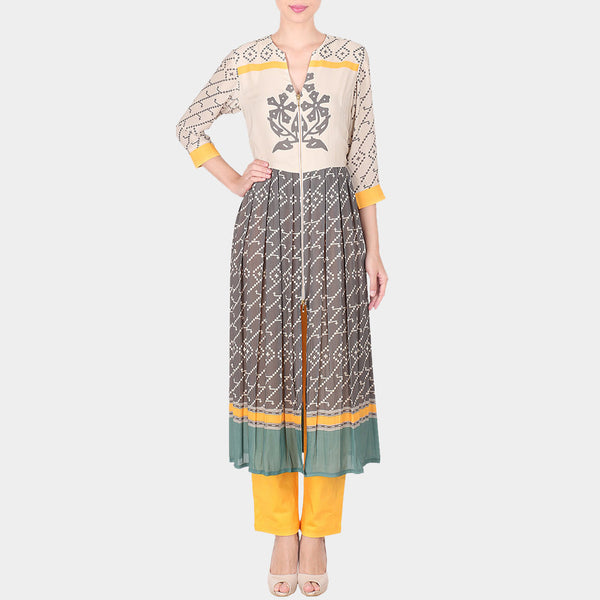 Set Of Multicolor Floral Abstract Print Double Georgette Long Tunic With Yellow Trousers by SOUP by Sougat Paul