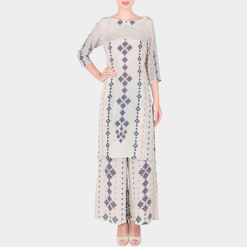 Set Of White Bold Geometric Print Crepe Long Kurta With Printed Palazzo by SOUP by Sougat Paul