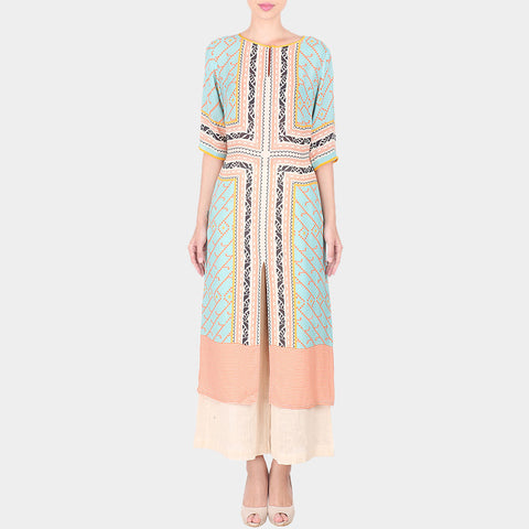 Set Of Multicolor Abstract Print Double Georgette Long Tunic With Off White Palazzo by SOUP by Sougat Paul