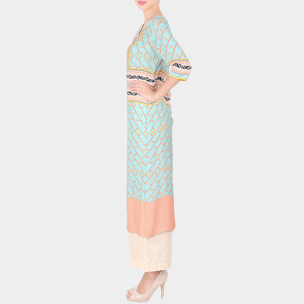 Set Of Multicolor Abstract Print Double Georgette Long Tunic With Off White Palazzo