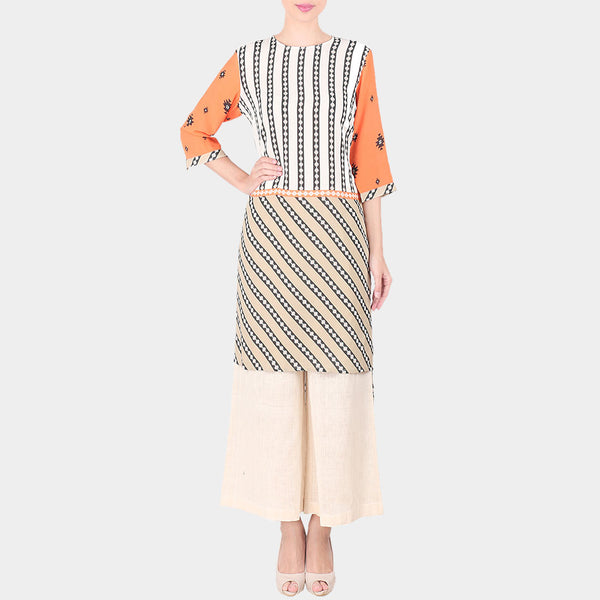 Set Of Multicolor Bold Geometric Lines Moss Crepe High Low Kurta With Off White Palazzo by SOUP by Sougat Paul