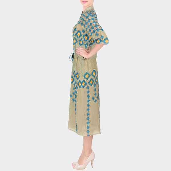 Green Geometric Print Crepe Shirt Dress With Mandarin Collar & Drawstring