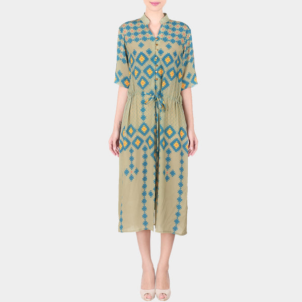 Green Geometric Print Crepe Shirt Dress With Mandarin Collar & Drawstring by SOUP by Sougat Paul