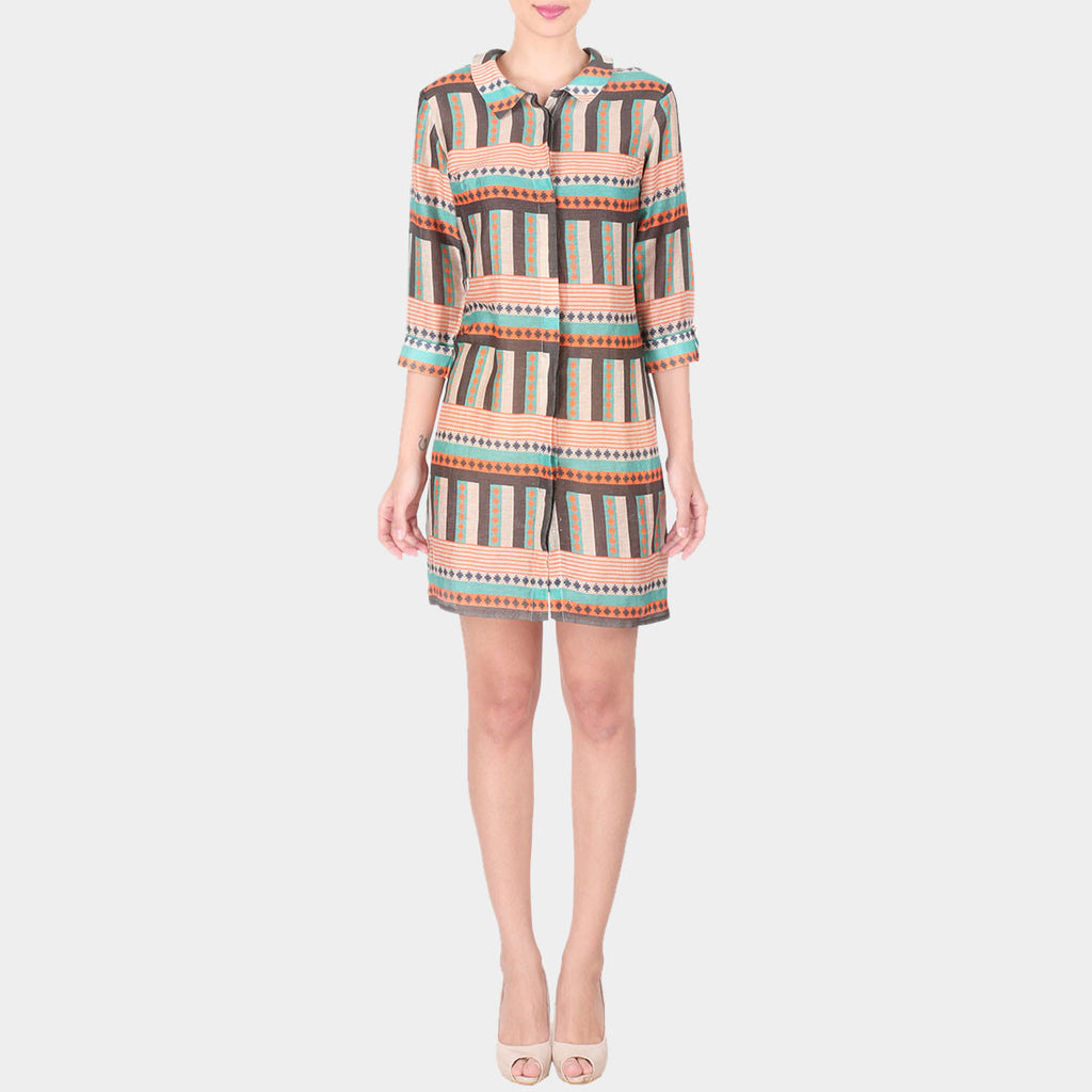 Multicolor Bold Lines Geometric Print Linen Shirt Dress With Collars by SOUP by Sougat Paul