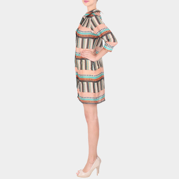Multicolor Bold Lines Geometric Print Linen Shirt Dress With Collars