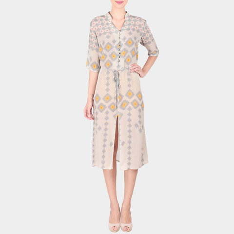 Off White Geometric Print Crepe Front Slit Shirt Dress With Drawstring by SOUP by Sougat Paul