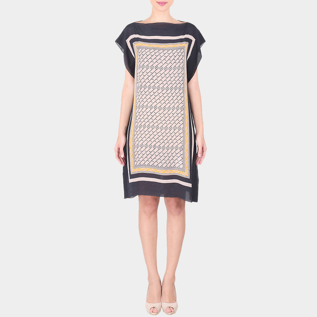 Black & Multicolor Abstract Bold Geometric Print Crepe Dress With Boat Neck by SOUP by Sougat Paul