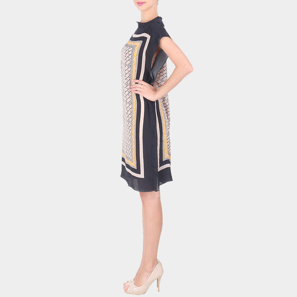Black & Multicolor Abstract Bold Geometric Print Crepe Dress With Boat Neck