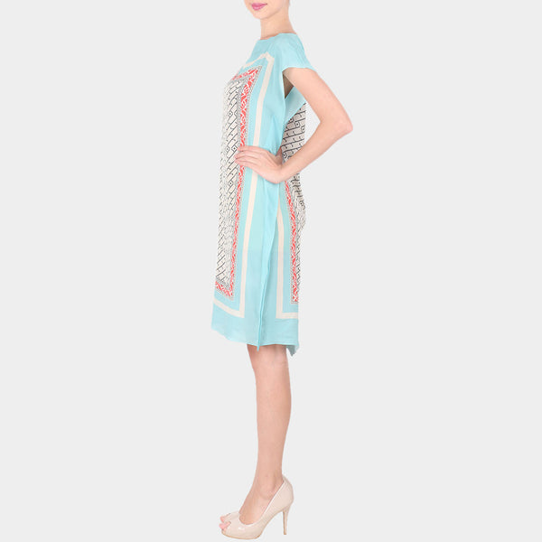 Blue & Multicolor Abstract Bold Geometric Print Crepe Dress With Boat Neck