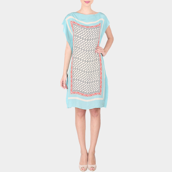 Blue & Multicolor Abstract Bold Geometric Print Crepe Dress With Boat Neck by SOUP by Sougat Paul