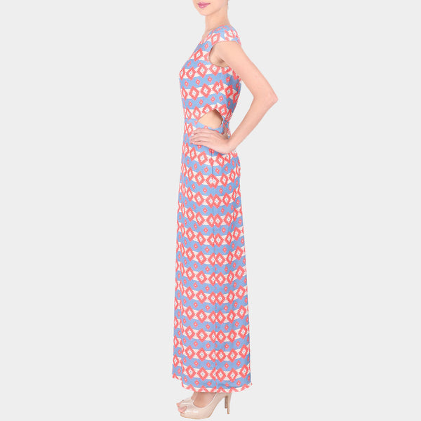 Pink & Blue Bold Geometric Print Moss Crepe Long Ankle Length Dress