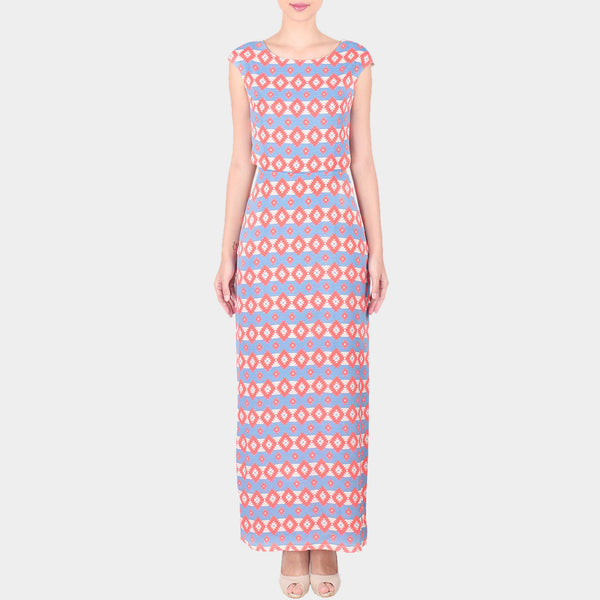 Pink & Blue Bold Geometric Print Moss Crepe Long Ankle Length Dress by SOUP by Sougat Paul