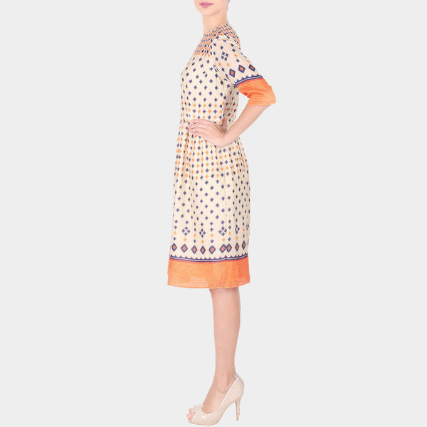 Off White Geometric Print Linen Dress With Gathers On The Waist & Yoke Details