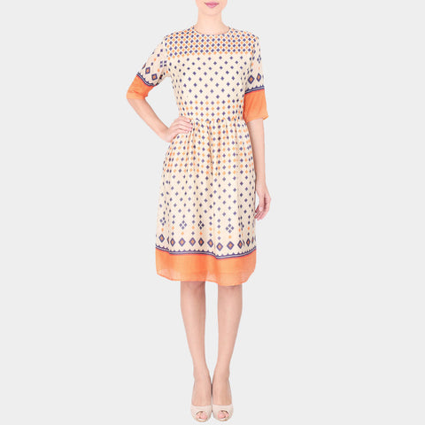 Off White Geometric Print Linen Dress With Gathers On The Waist & Yoke Details by SOUP by Sougat Paul