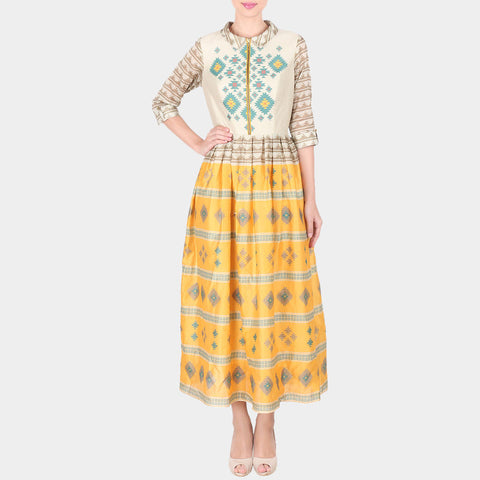 Multicolor Bold Geometric Print Chanderi Long Ankle Length Dress With Collars by SOUP by Sougat Paul