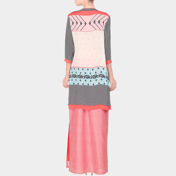 Set Of Multicolour Abstract Print Chanderi Long Kurta With Skirt