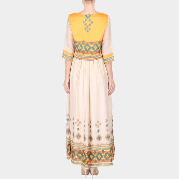 Multicolor Geometric Print Cotton Silk Long Ankle Length Dress With Koti
