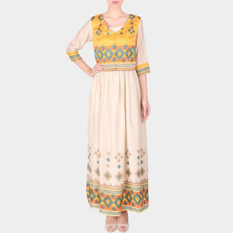 Multicolor Geometric Print Cotton Silk Long Ankle Length Dress With Koti by SOUP by Sougat Paul