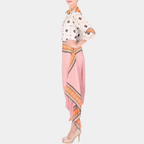 Multicolor Bold Geometric Print Cotton Silk Dhoti Jumpsuit With Collars