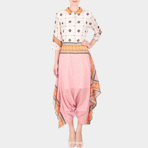 Multicolor Bold Geometric Print Cotton Silk Dhoti Jumpsuit With Collars - XS by SOUP by Sougat Paul
