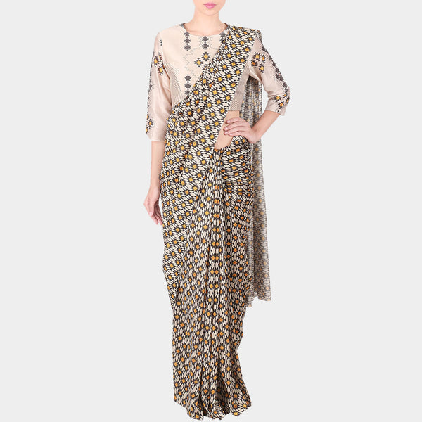 Off White Bold Geometric Print Chanderi Saree With Printed Stitched Blouse