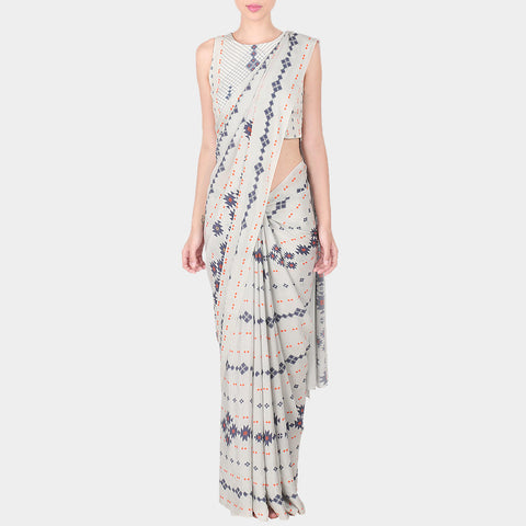 White Geometric Print Crepe Saree With Printed Stitched Sleevless Blouse by SOUP by Sougat Paul
